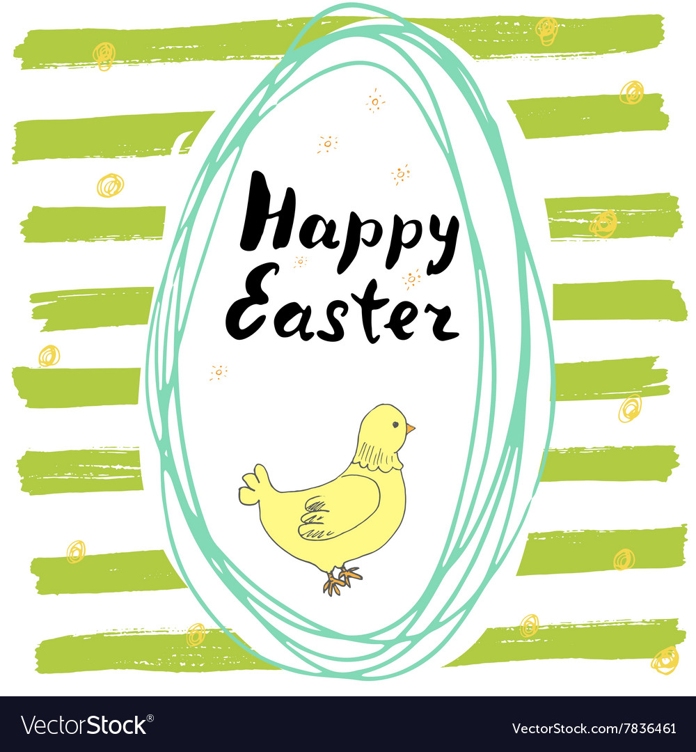 Happy easter hand drawn greeting card