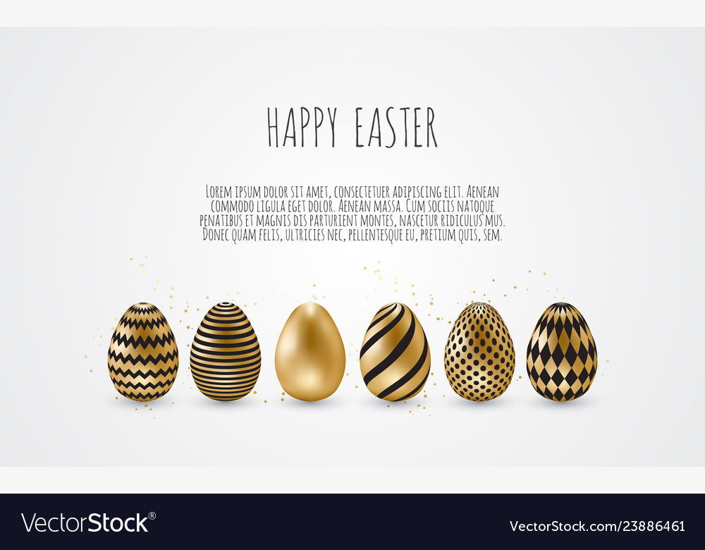 Happy easterset of easter eggs with different