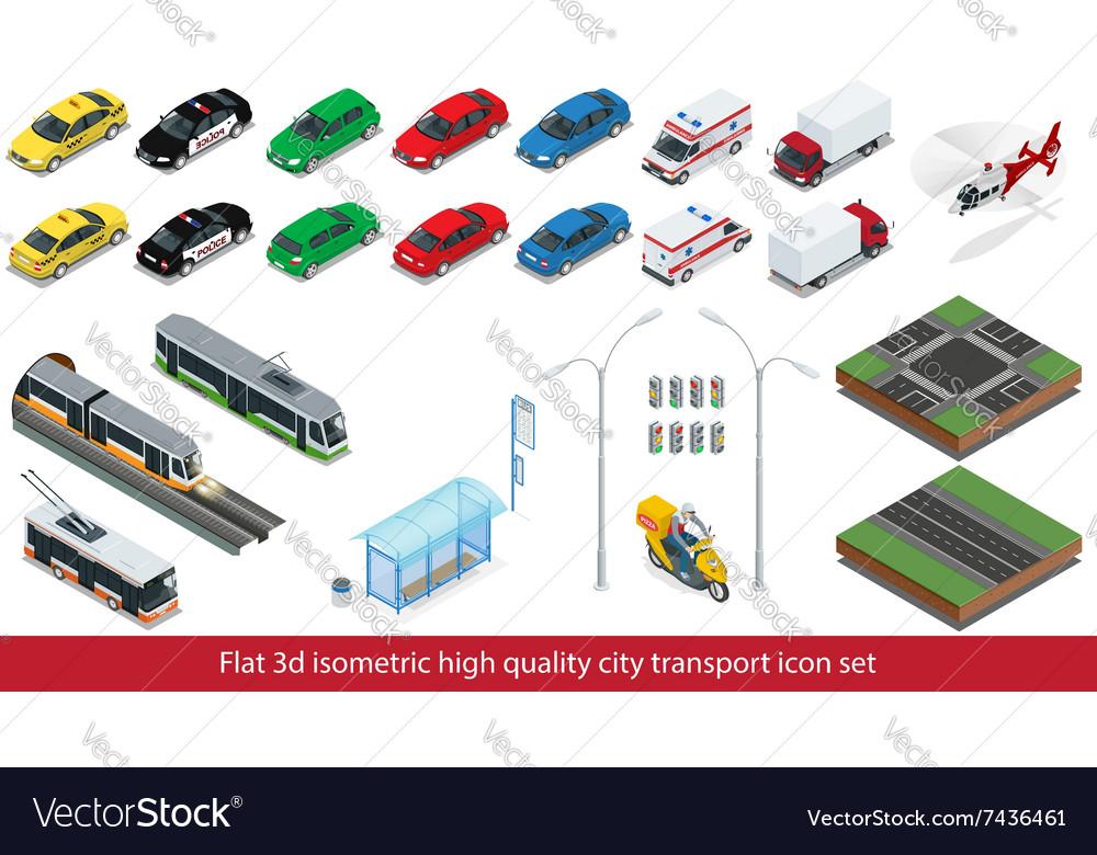 Isometric high quality city transport icon set