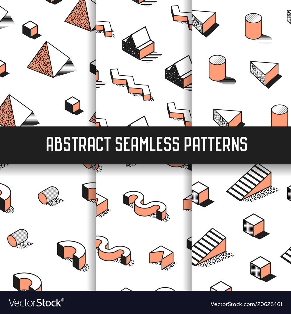 Memphis style abstract seamless patterns set