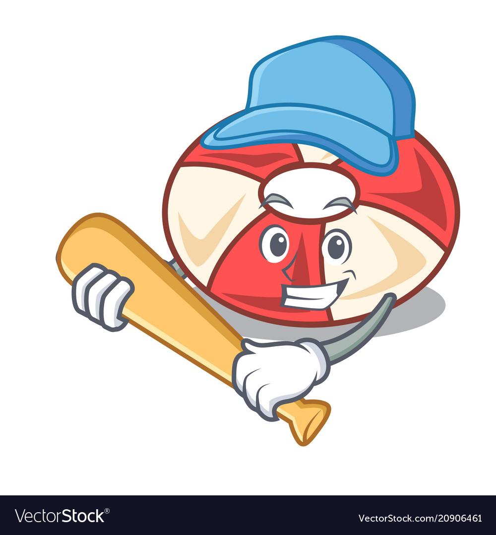 Playing baseball swim tube character cartoon vector image