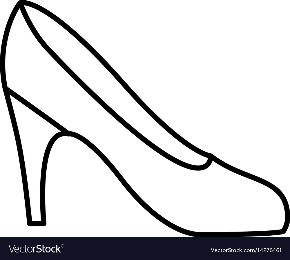 Silhouette drawing of high heel shoe