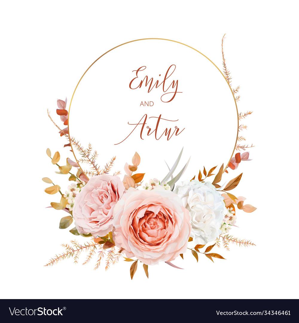 Watercolor wedding invite card design blush peach