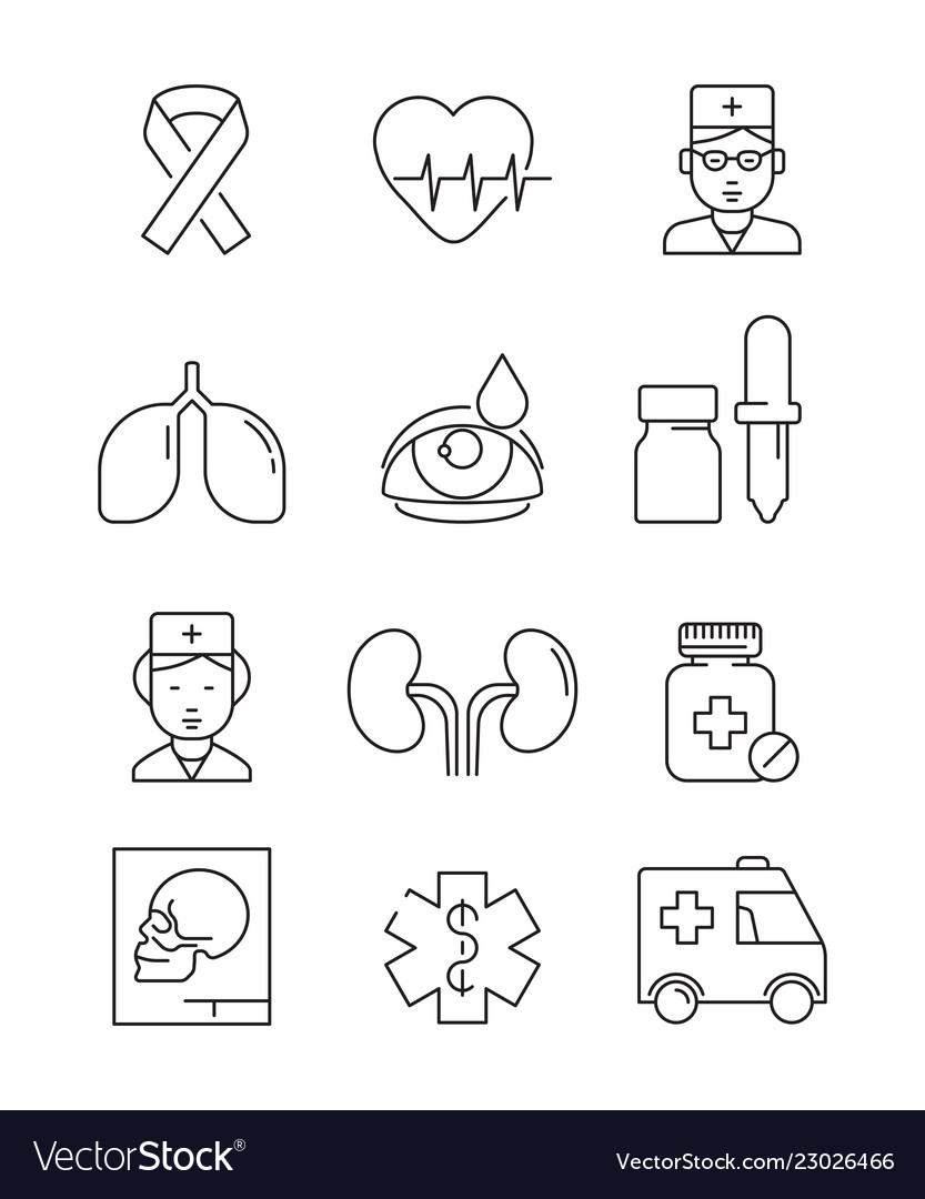 Health care line icons medical stroke symbols