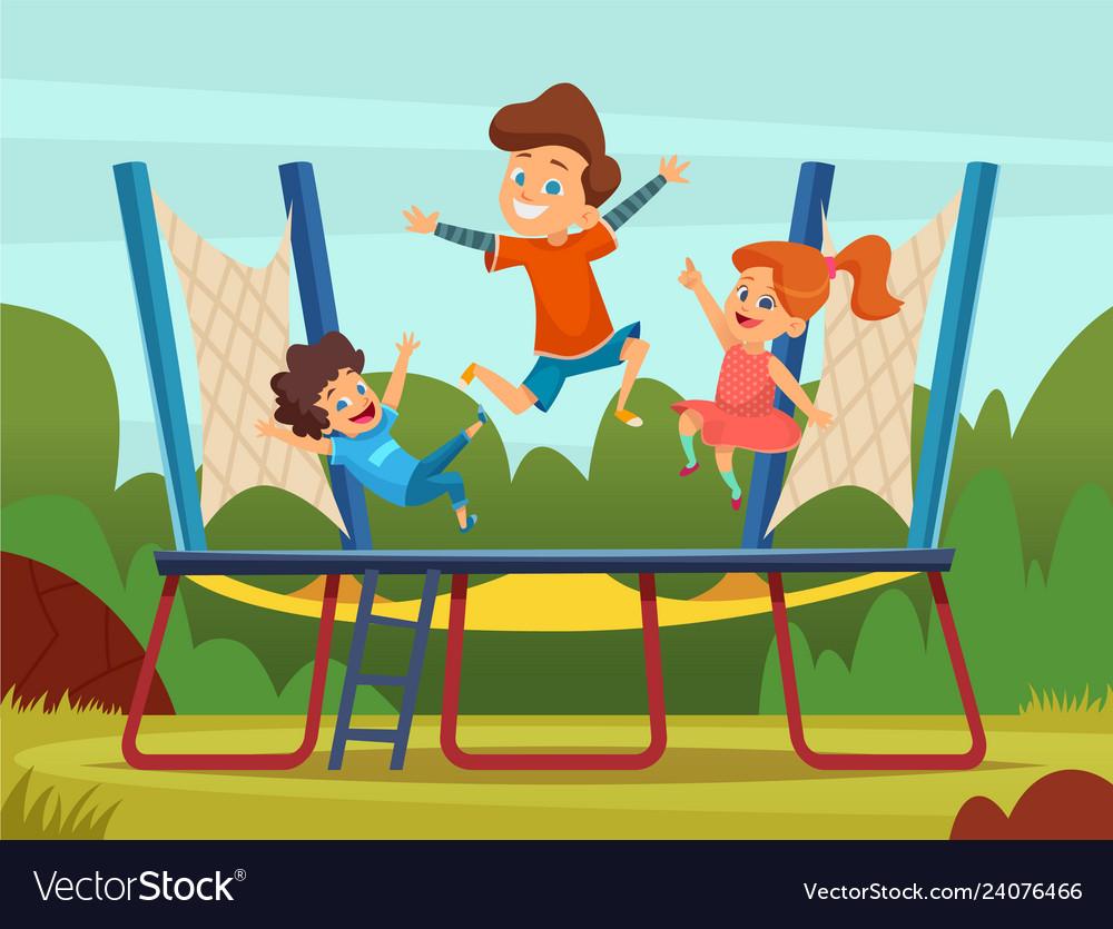 Jumping trampoline kids active children games on