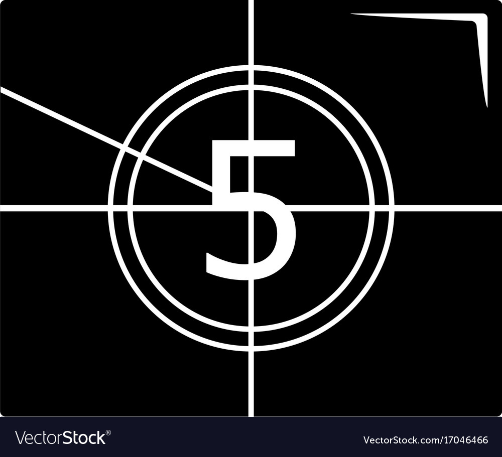 Movie countdown number icon simple black style vector image