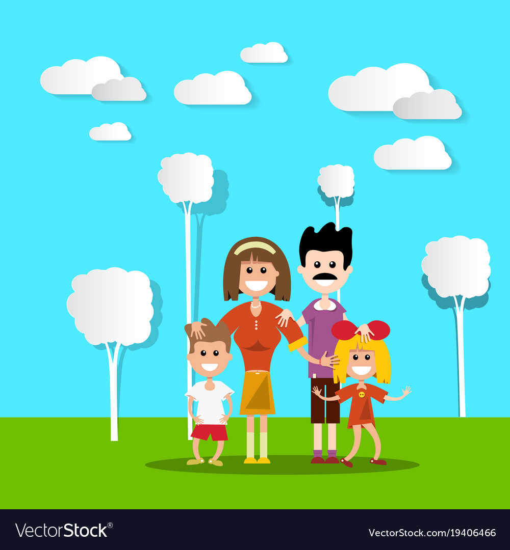 People in nature happy family with paper cut flat