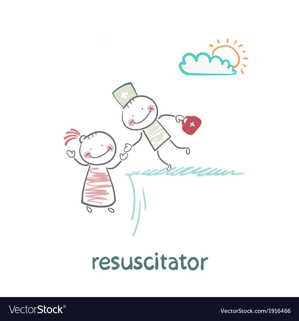 Resuscitator holding the hand of a patient from