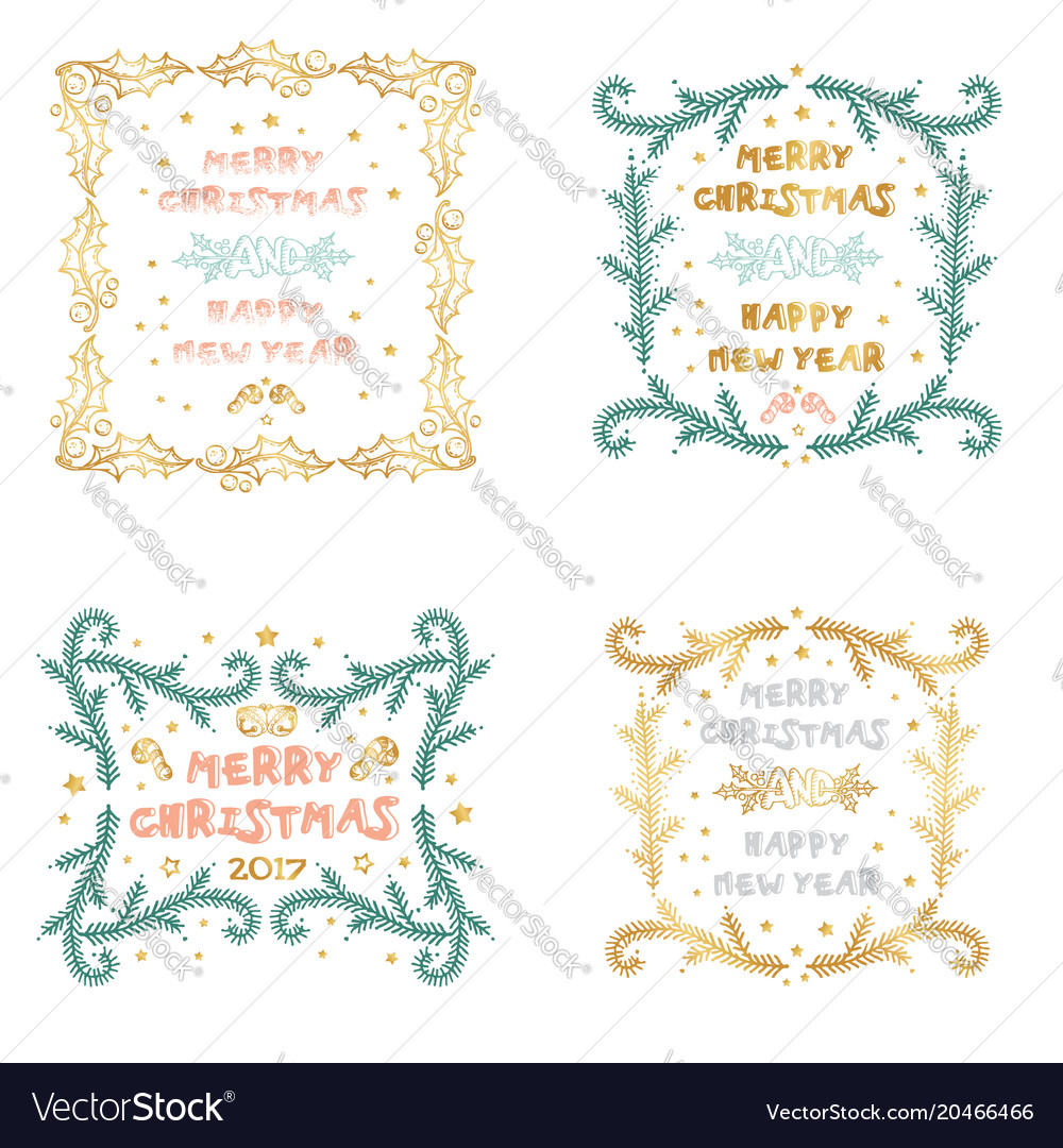 Set of christmas and new year cards with Vector Image
