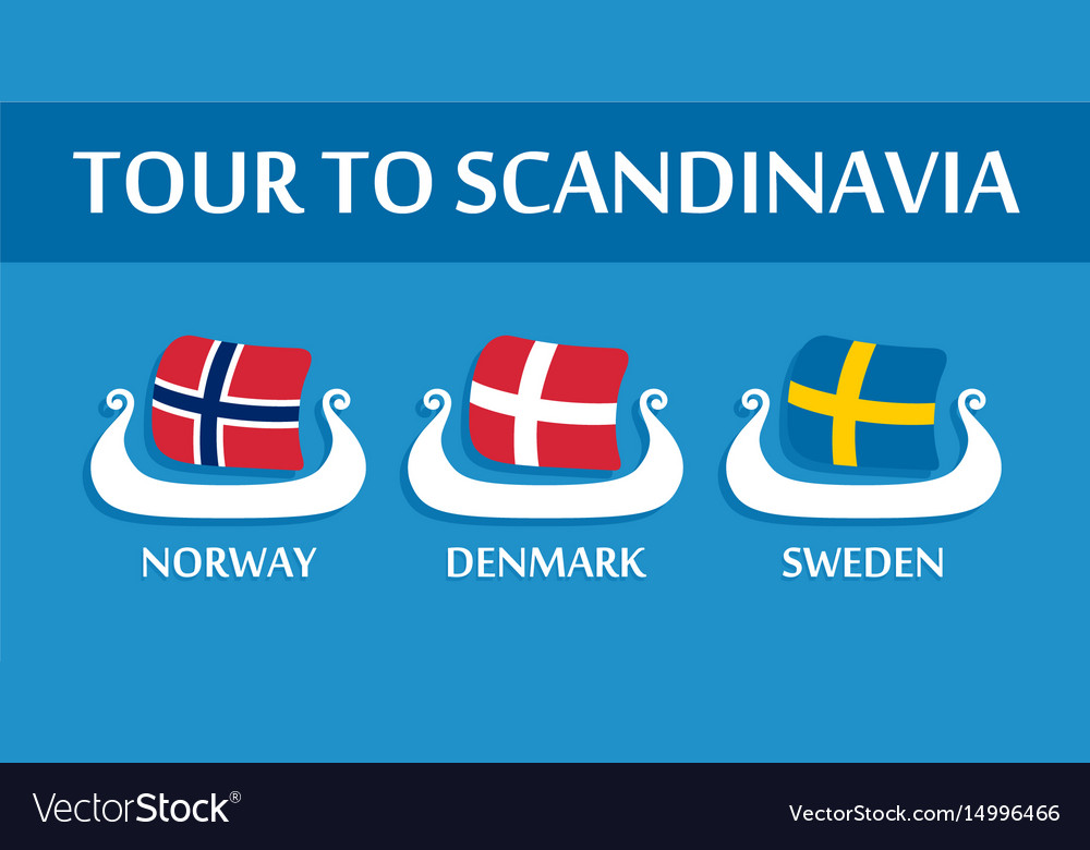 Set of colorful emblem of scandinavian flags