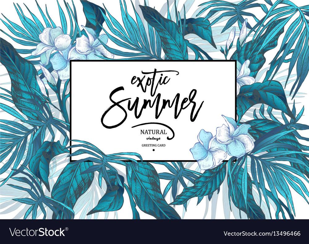 Summer leaves vintage exotic greeting card