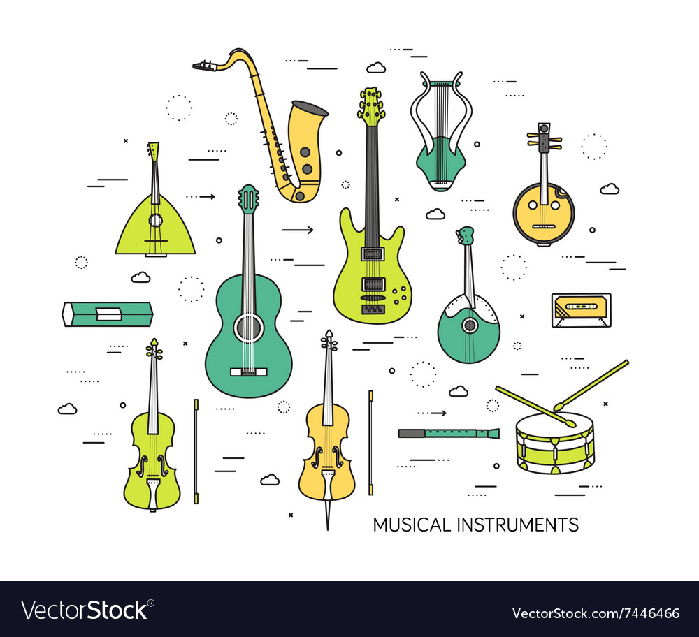 Thin line set of musical instruments modern