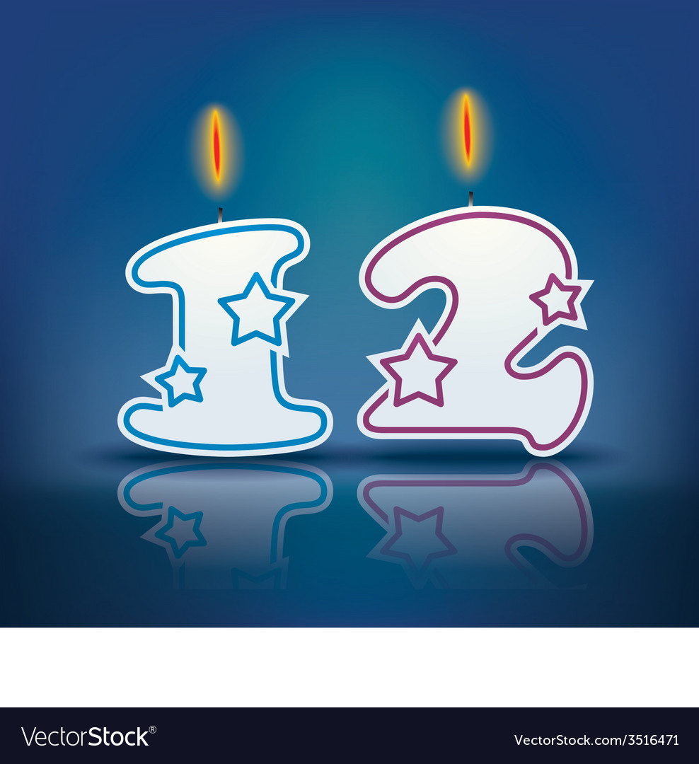 Birthday Candle Number 12 Vector Image