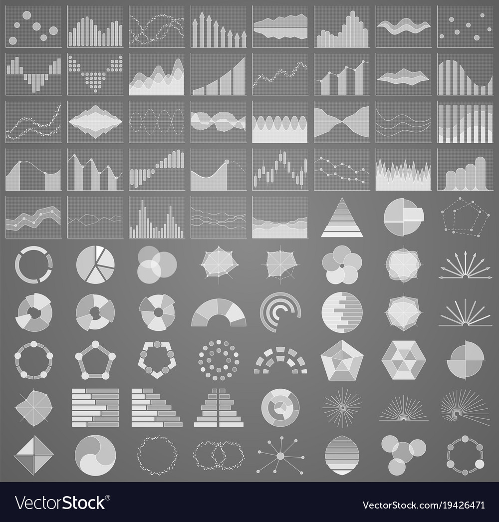 Business chart collection set of graphs data