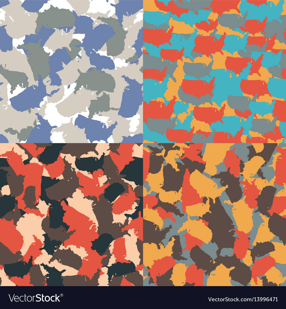 Colorful america urban camouflage set of usa