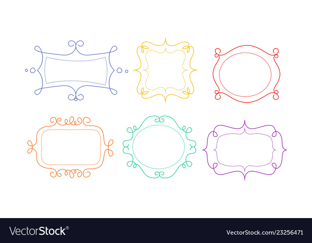 Decorative frames of different shapes with space