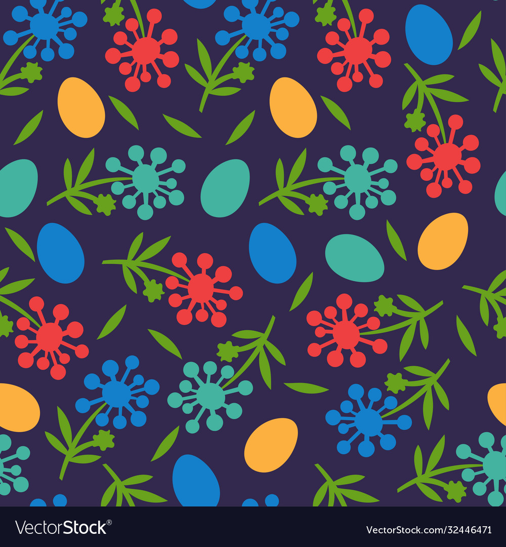Flower seamless pattern for happy easter day