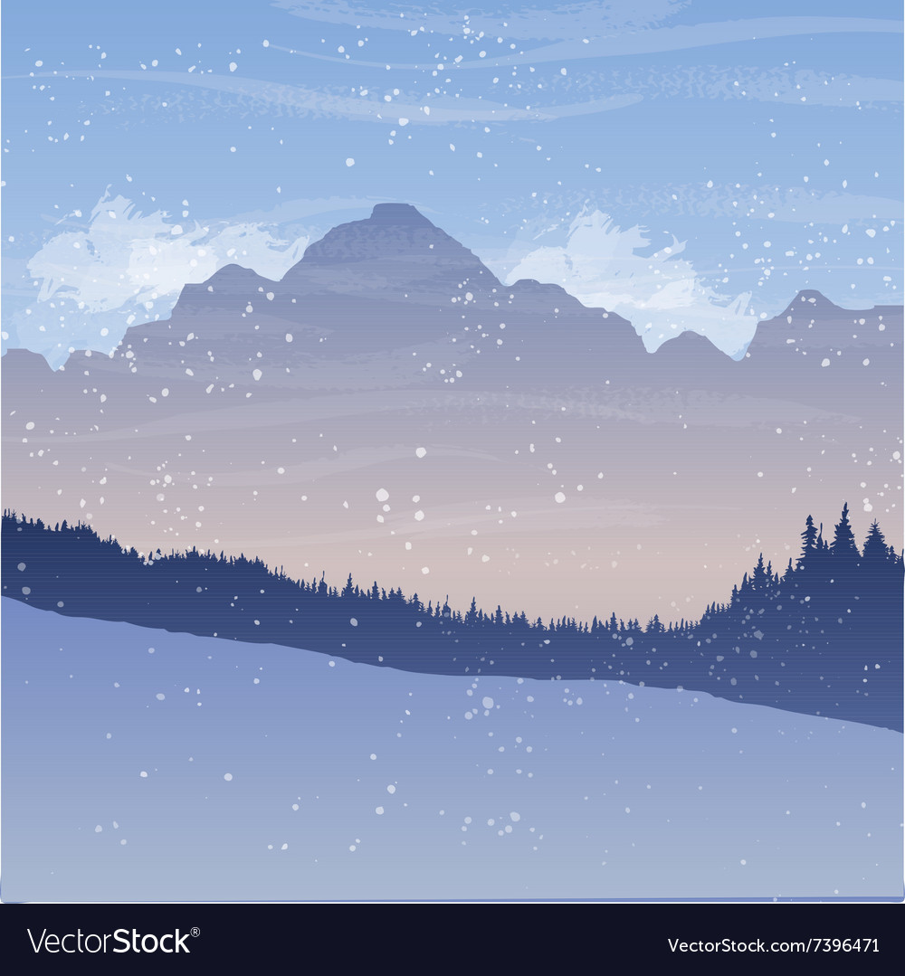 Mountain landscape with fir trees and snow