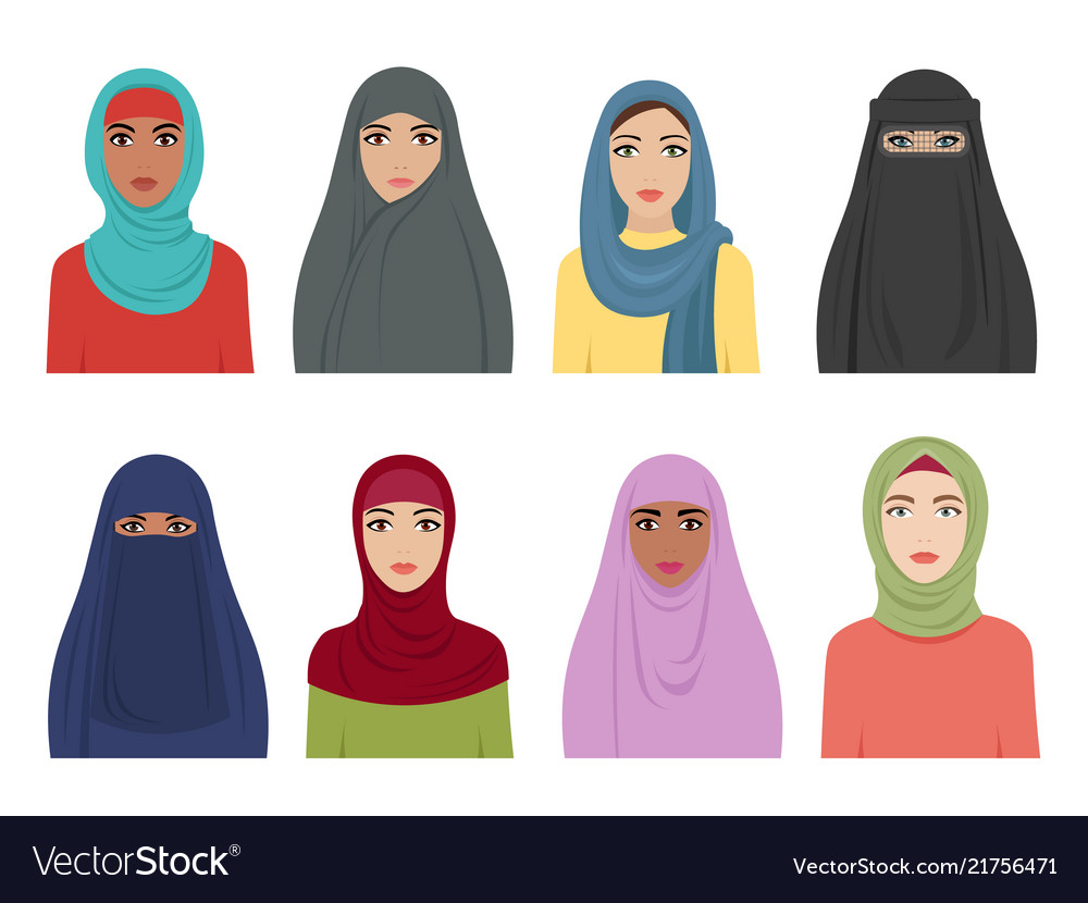 Muslim girls avatars islamic fashion for women Vector Image fe40c672981