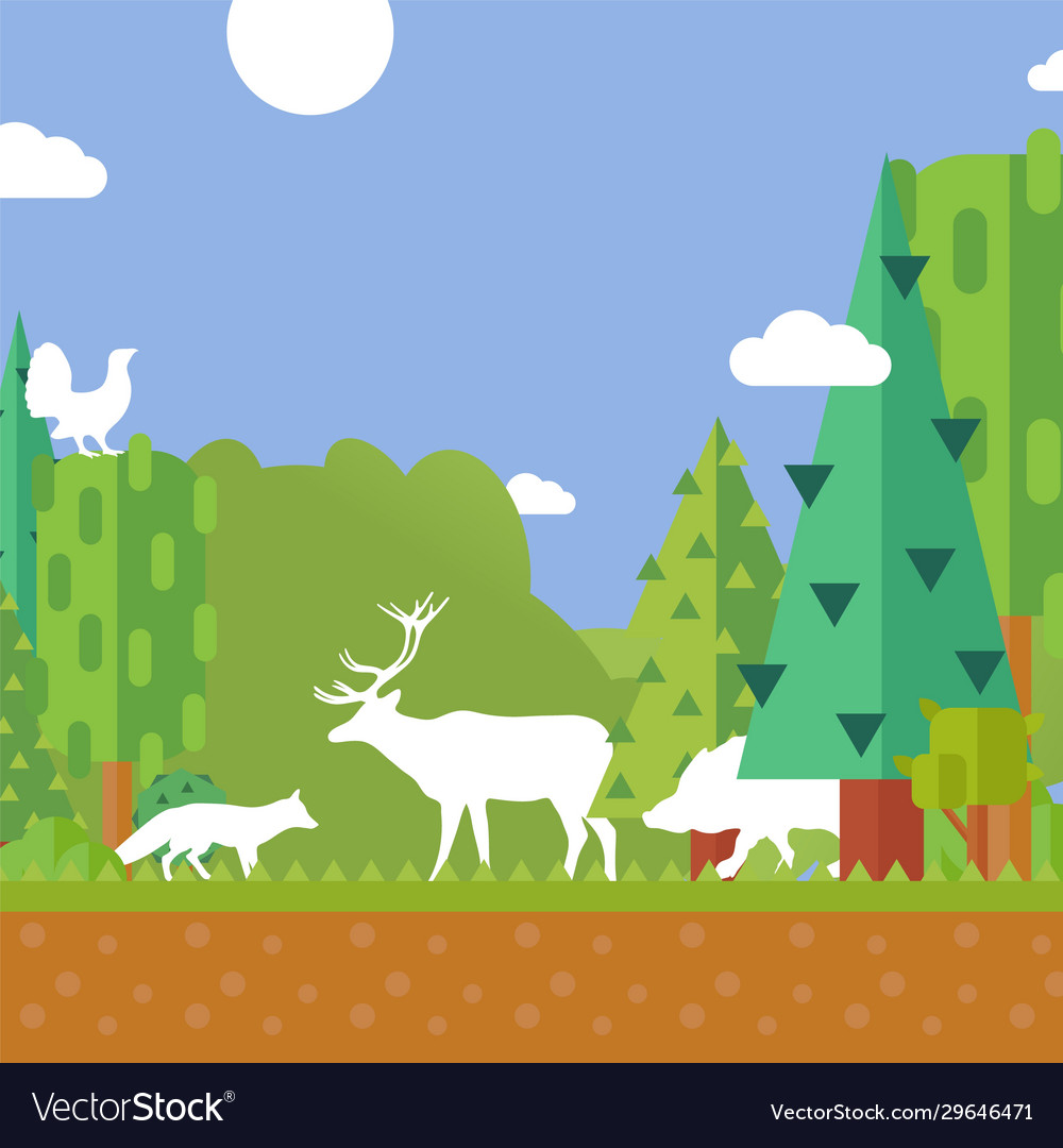 Nature forest animal silhouettes environment