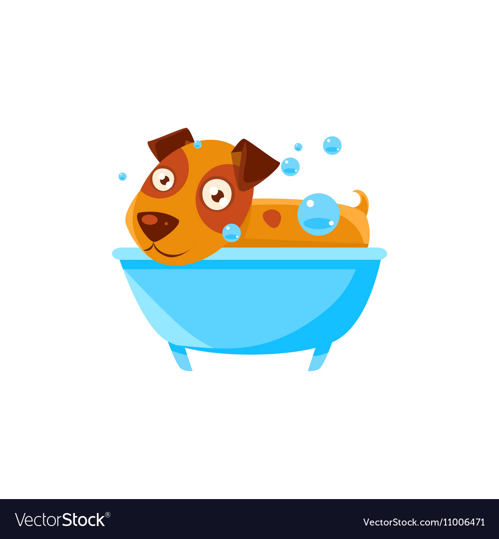 Puppy Taking A Bubble Bath In Tub Royalty Free Vector Image