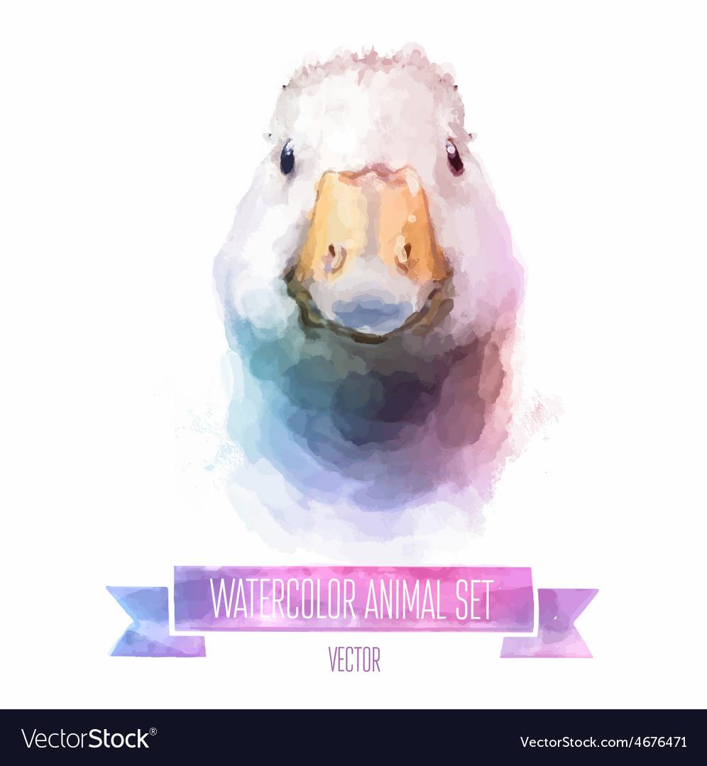 Set of watercolor Cute goose