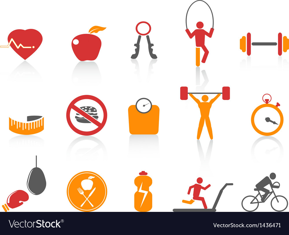 Simple fitness icons setorange color series vector image