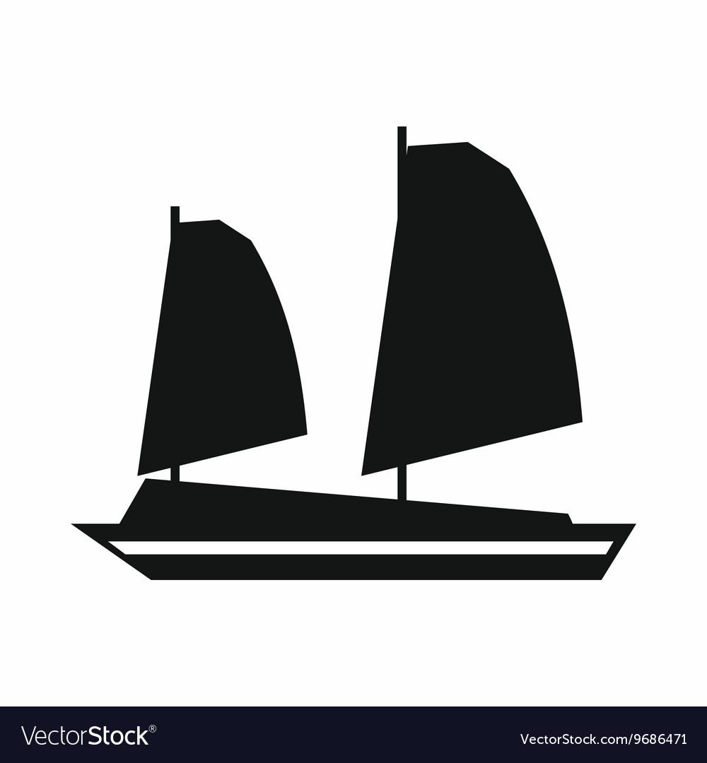 Vietnamese junk boat icon simple style vector image