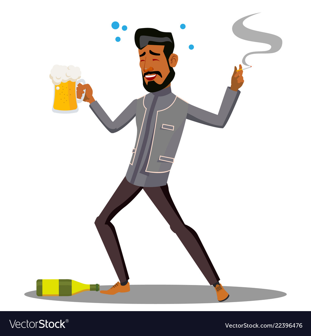 Adult Drunk Man With Glass Of Beer And Cigar Vector Image