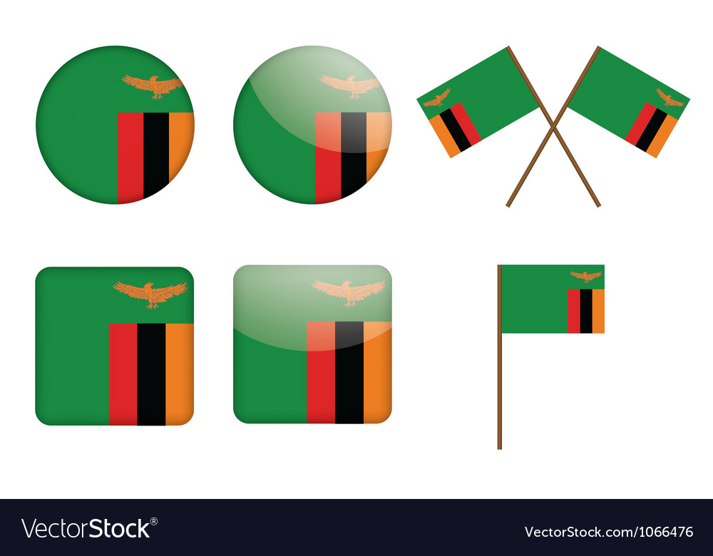 Badges with flag of Zambia