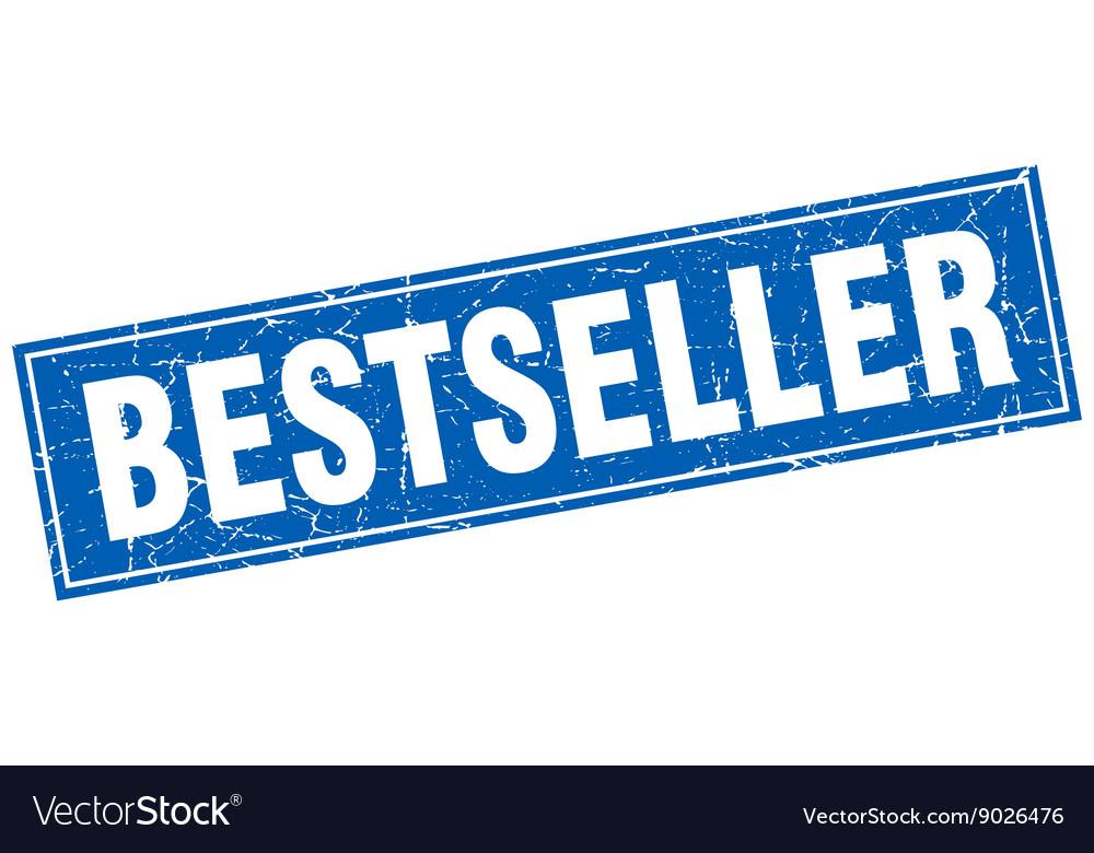 Bestseller blue square grunge stamp on white vector image