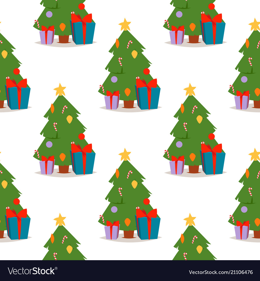 Christmas pine tree cartoon green winter vector image