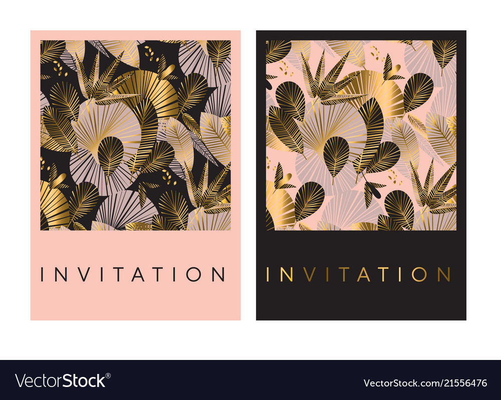 Decorative gold and rosy tropical pattern