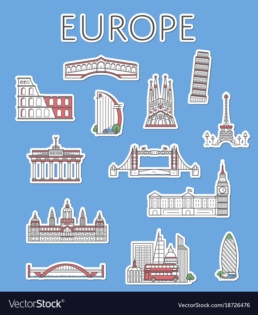 European traveling labels set in linear style