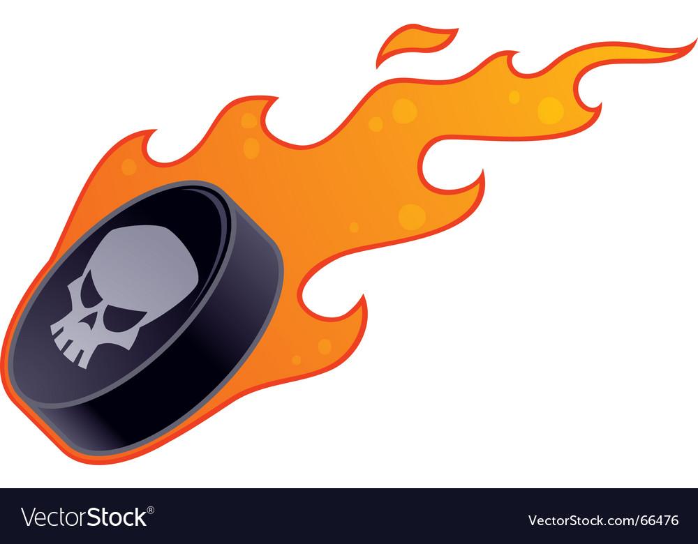 Flaming hockey puck vector image