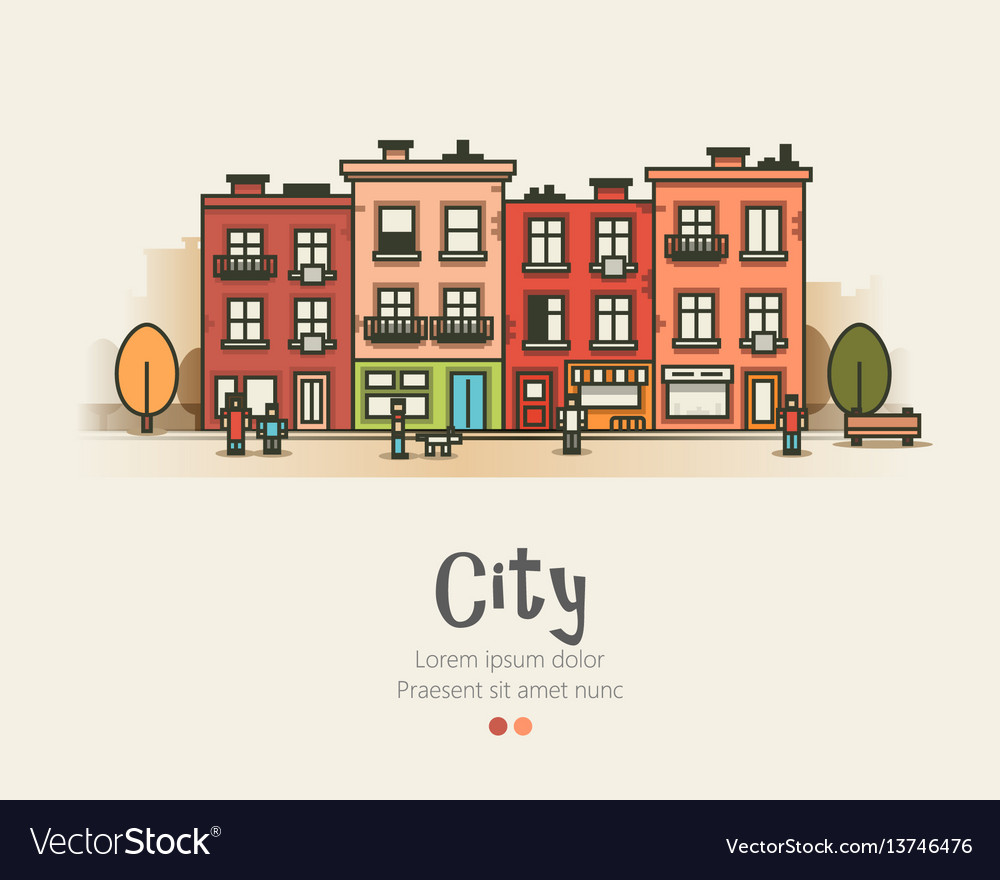 Flat design modern urban landscape and city life