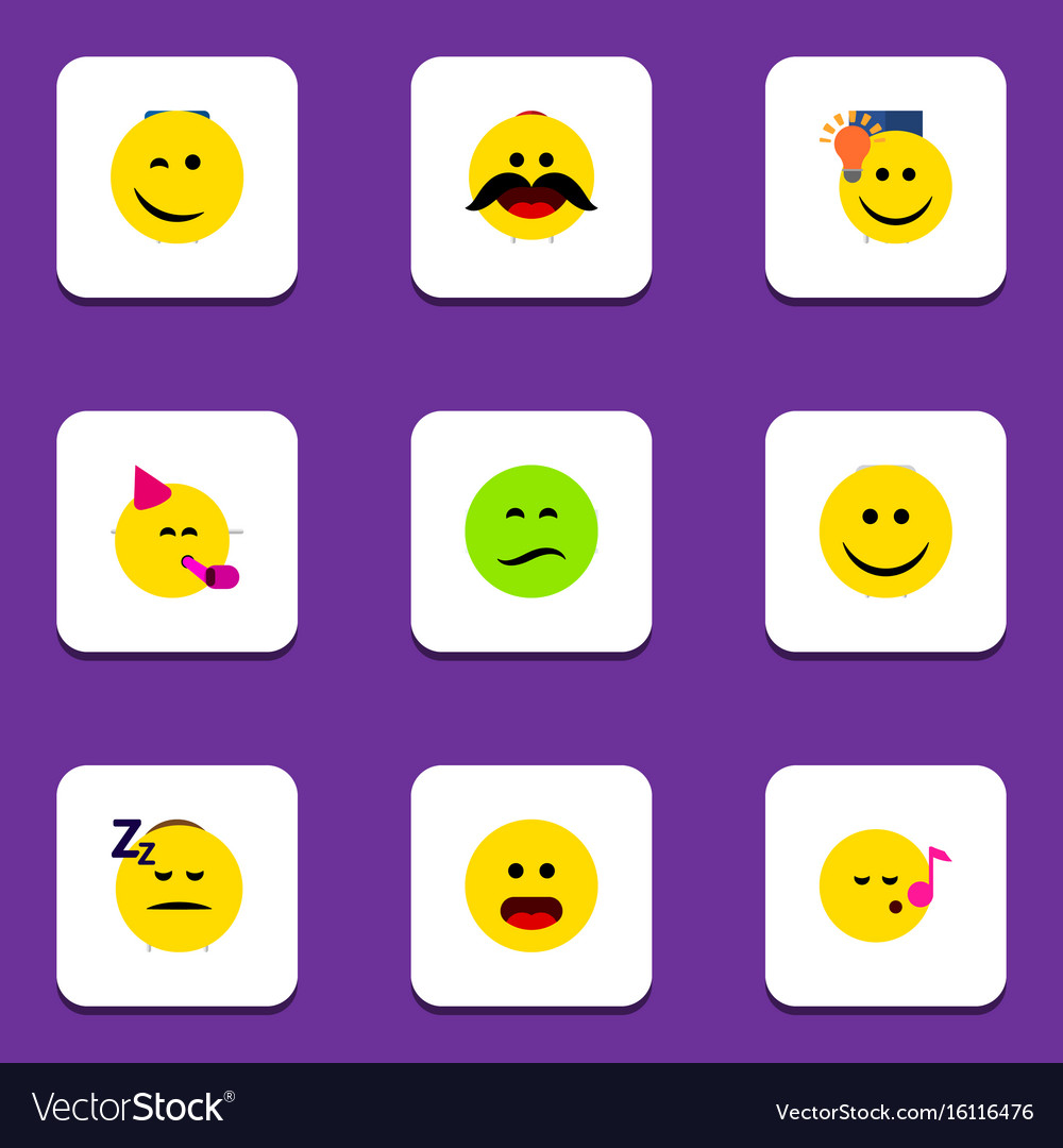 Flat icon gesture set of cheerful joy frown and vector image
