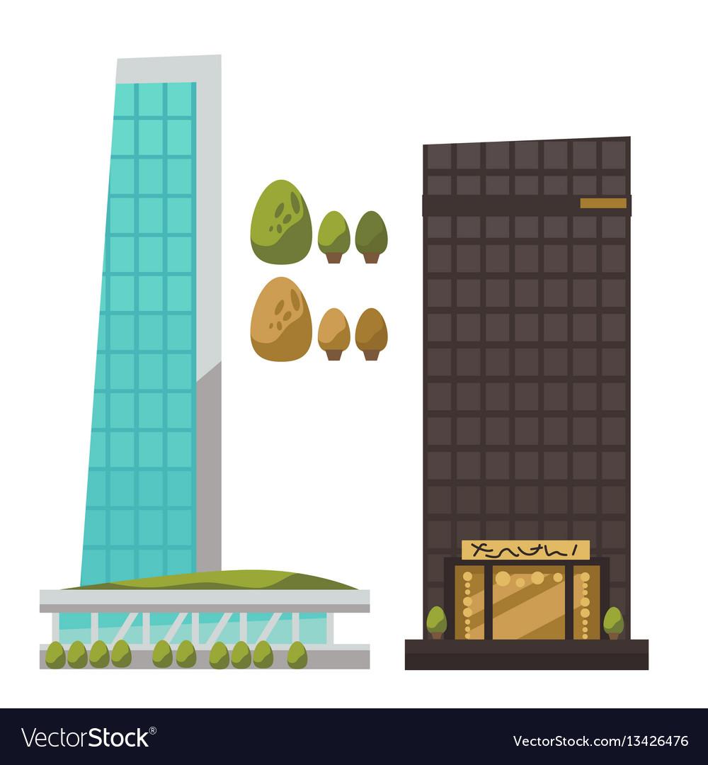 Flat set of modern urban architecture