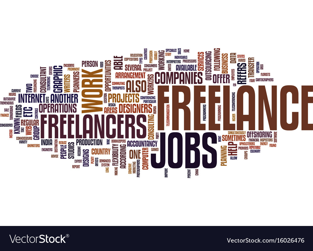 Freelance jobs text background word cloud concept