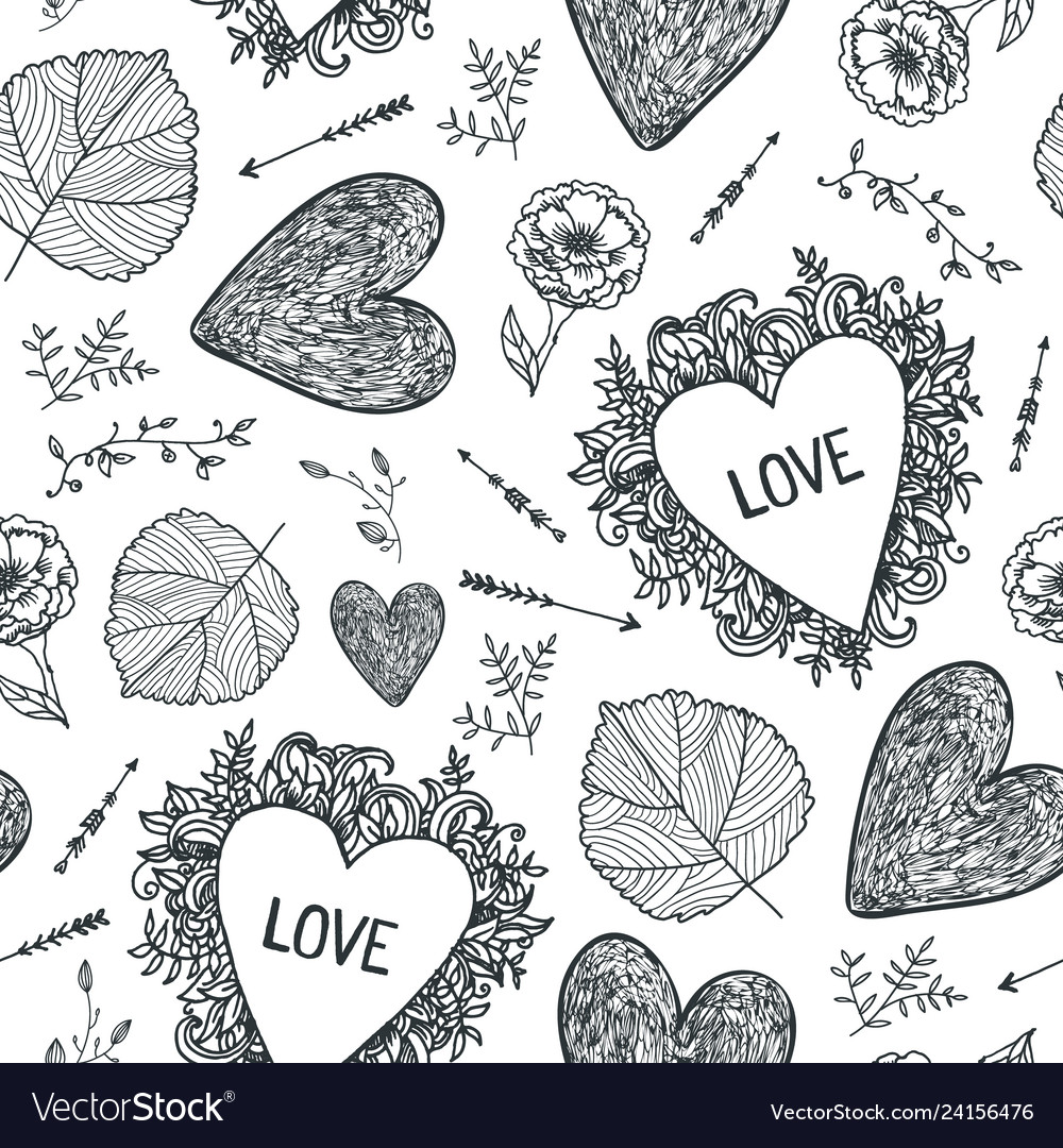Hand drawn doodle seamless pattern black