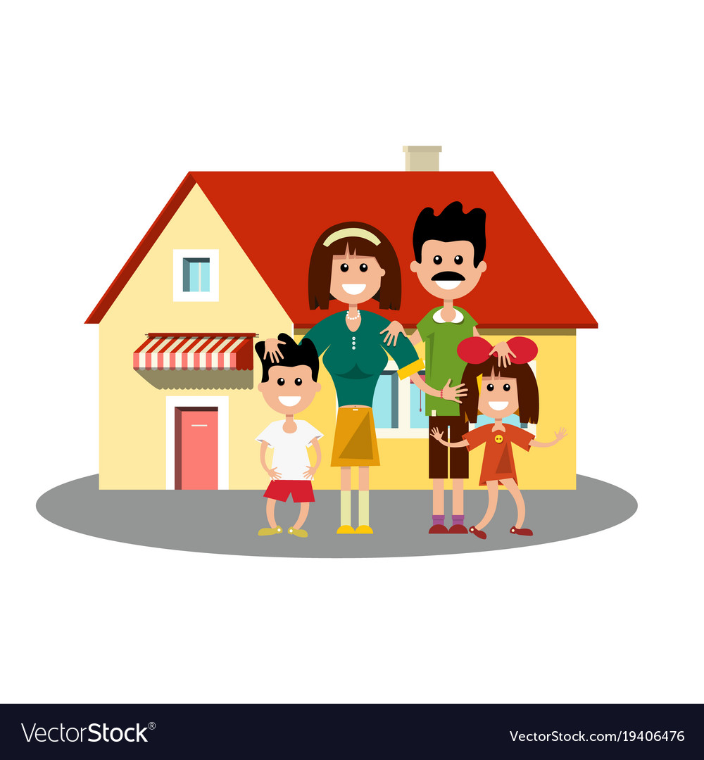 House icon with happy family