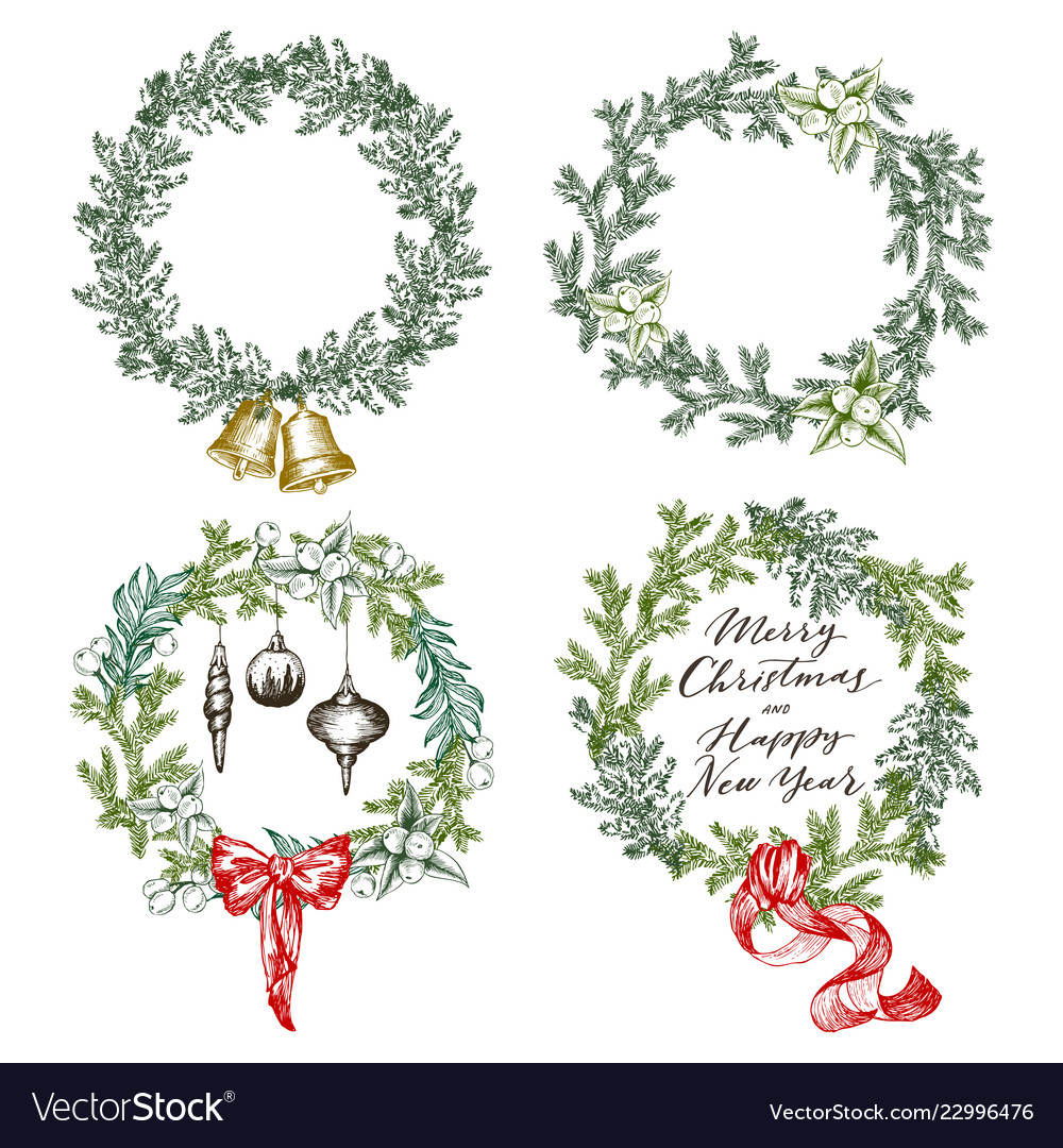 New year greeting card elements christmas wreath