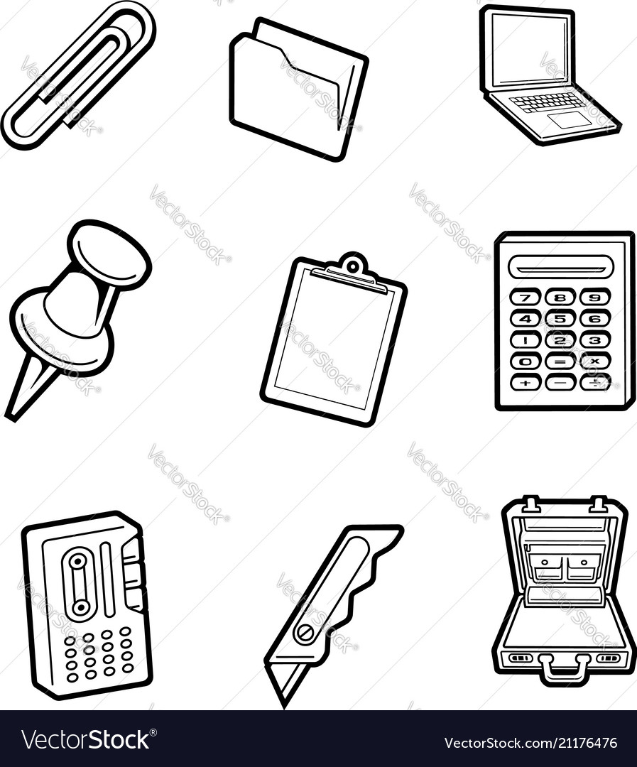 Office cartoon icon collection set