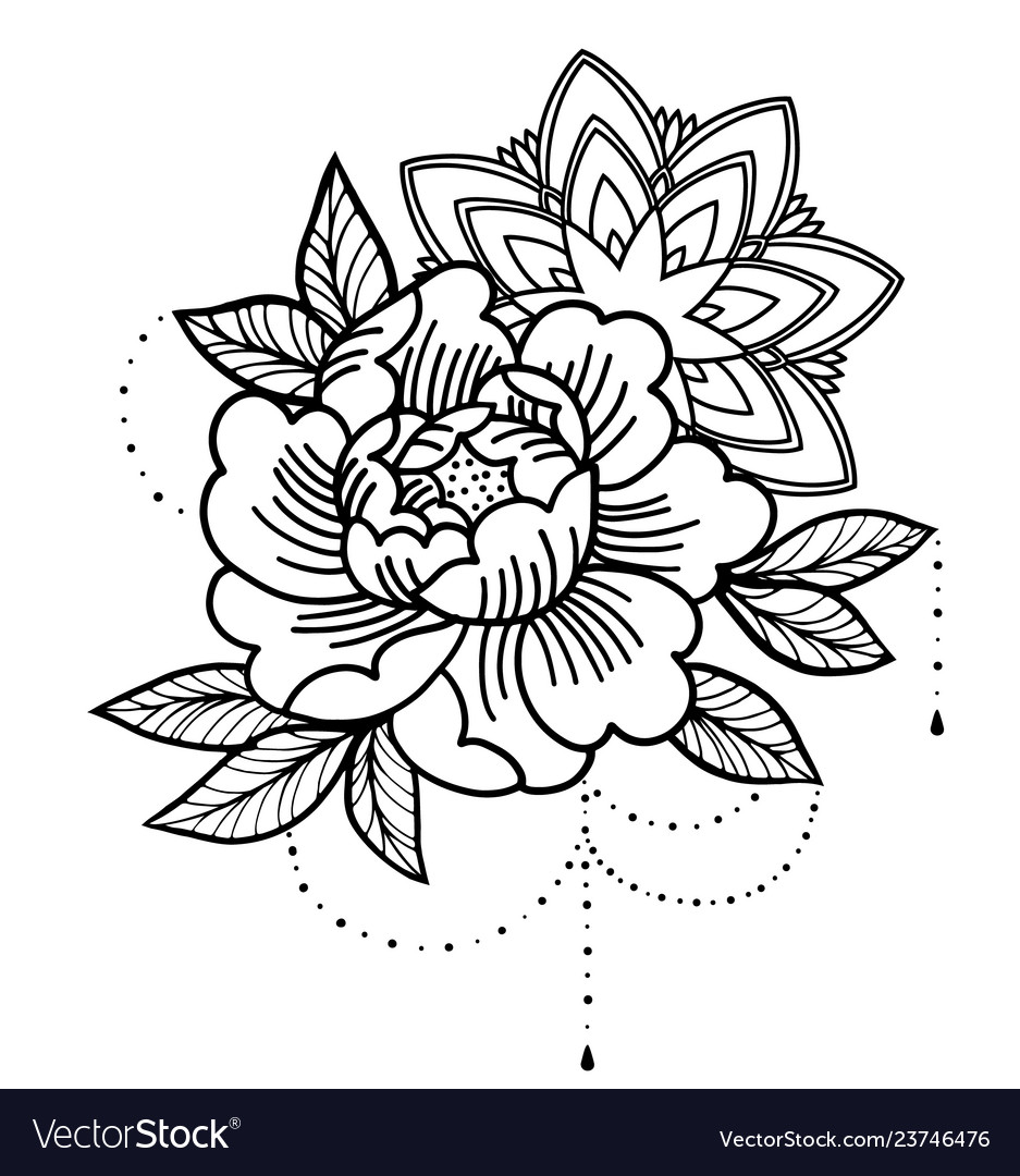 Rose tattoo mystic symbol flower with string of
