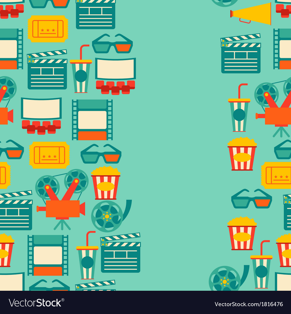 Seamless pattern of movie elements and cinema