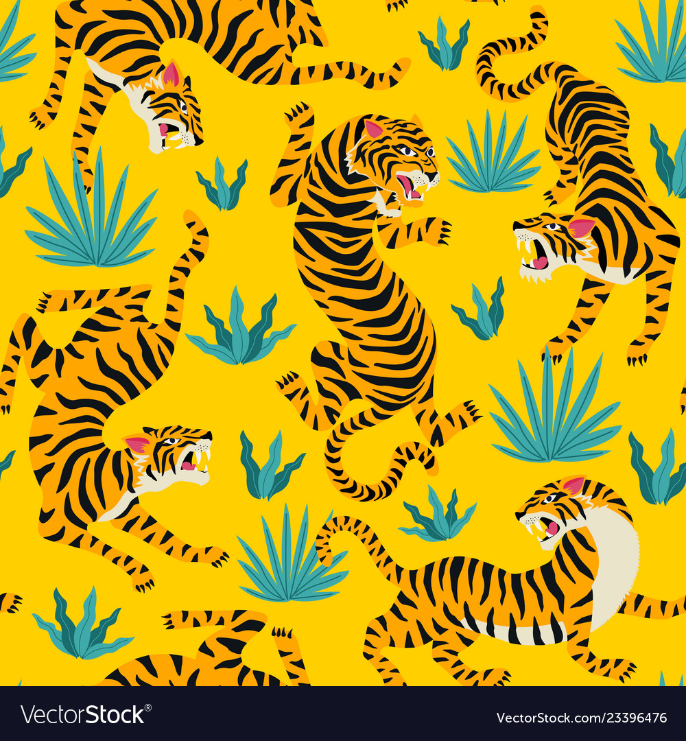 Seamless pattern with cute tigers on