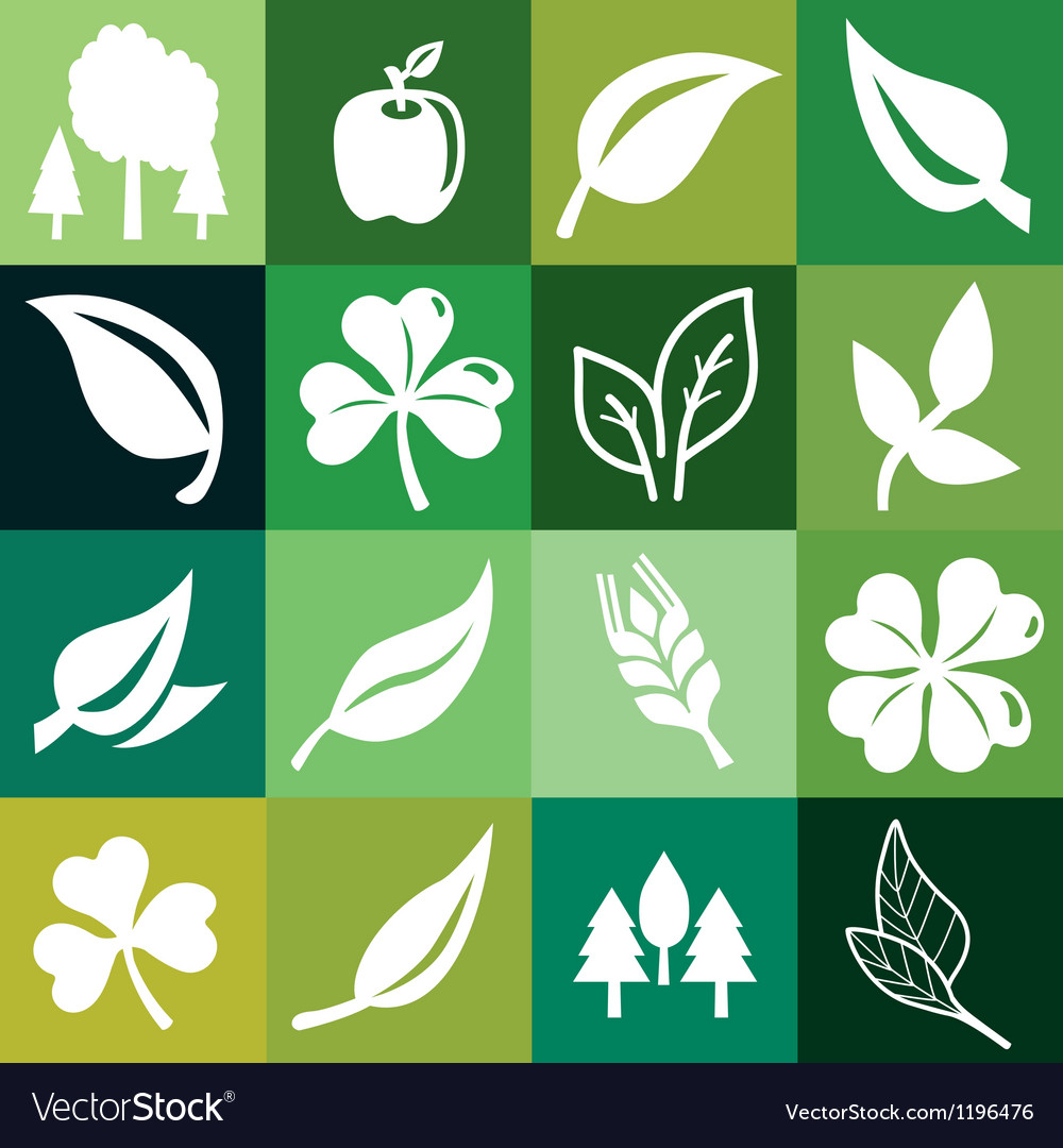 Seamless pattern with ecology signs