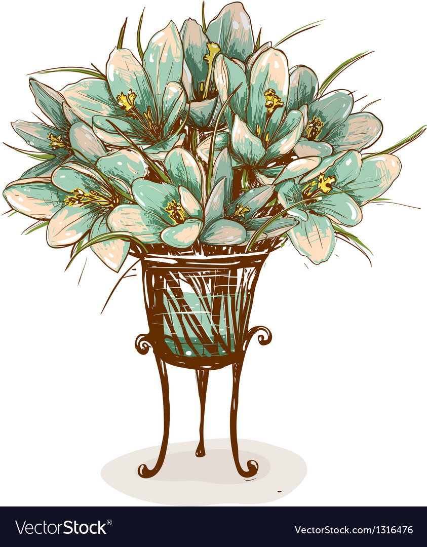 254 & Vintage Flowers in Vase Composition