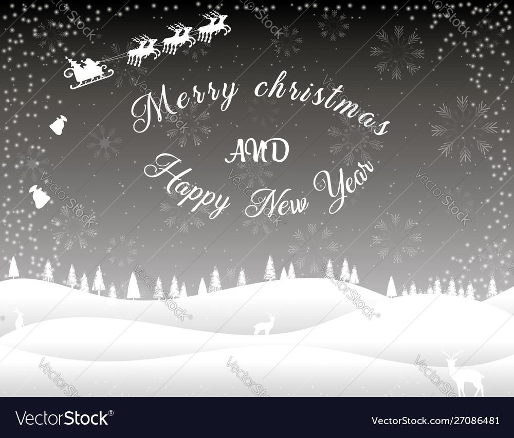 Black white christmas card winter forest