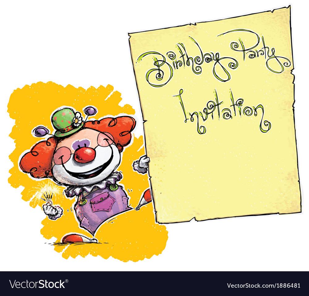 Clown Holding Invitation Birthday Party
